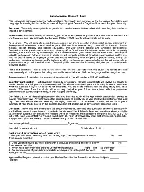 questionnaire consent form 2 free templates in pdf word