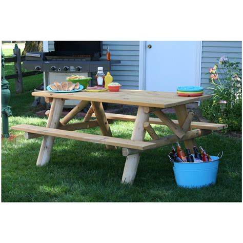 picnic table with attached benches lakeland mills 6 picnic table with attached benches 307358 patio furniture at