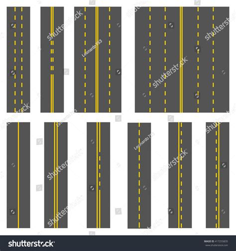 pattern of yellow lines on the roadway road markings set elements grey road stock vector