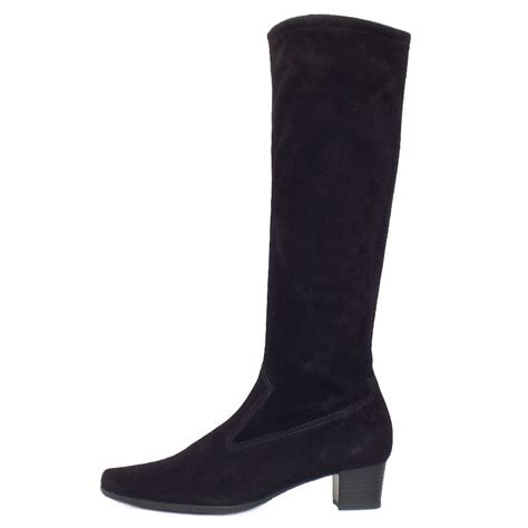kaiser uk aila black stretch suede pull on knee