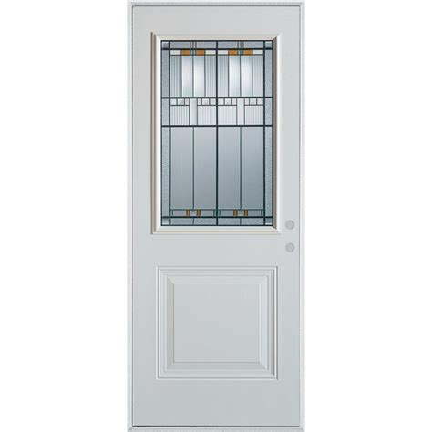 Stanley Exterior Door Stanley Doors 37 375 In X 82 375 In Architectural 1 2 Lite 1 Panel Painted White Steel Prehung
