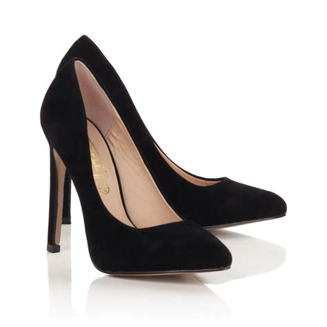 womens black suede stiletto court shoes