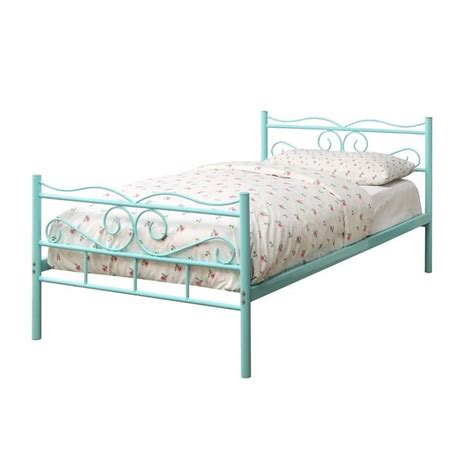 coaster iron bed with headboard in mint green 400152t