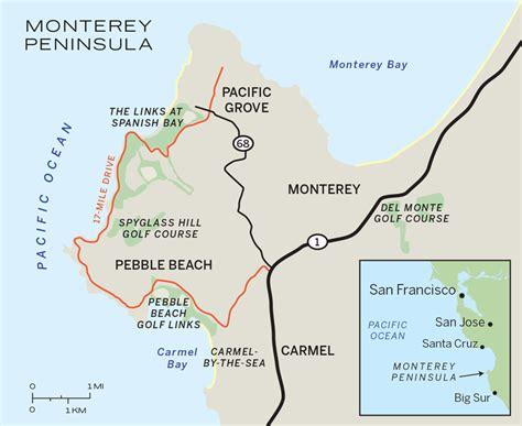 pebble california map pebble the lodge inn at bay and casa palmero