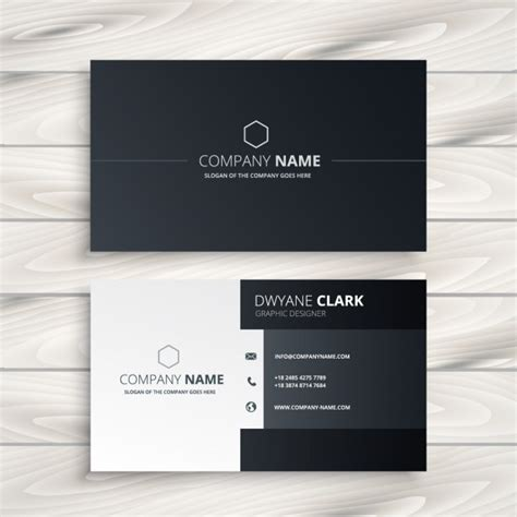 free business card templates black and white black and white business card vector free