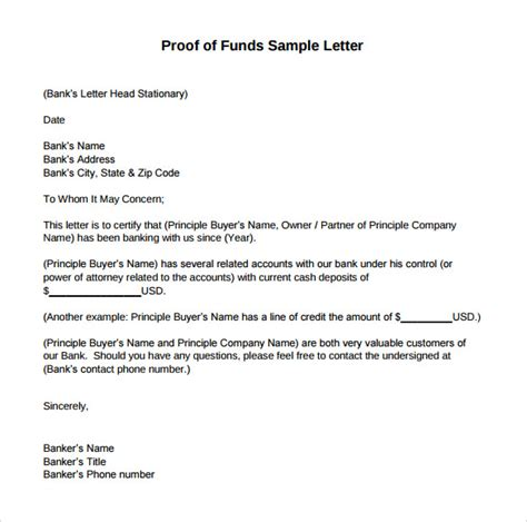 proof  funds letters     sample templates