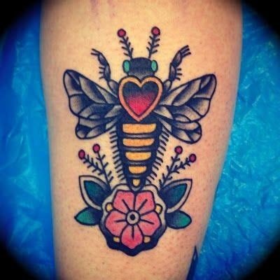 traditional bee tattoo school coloured bug on leg tattooimages biz
