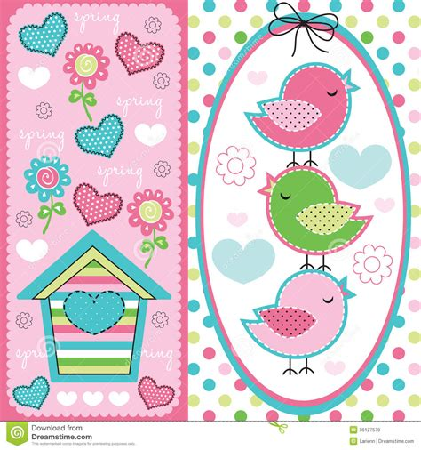 Little House Plans Free cute birds with spring pattern illustration royalty free