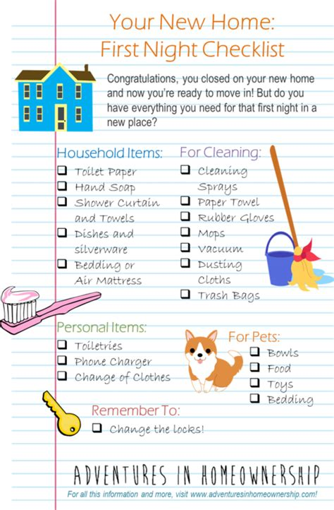printable new house checklist adventures in homeownership first night in a new home