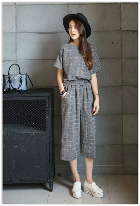 Set Cropped T Shirt Wide Leg set sleeve plaid top cropped wide leg