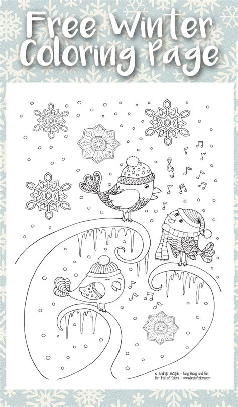 singing birds winter coloring page  adults continue