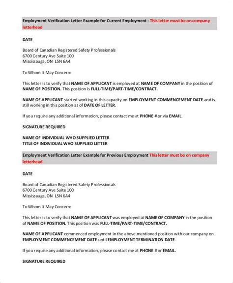 Employment Verification Letter Contract Employee employment letters