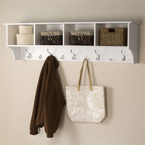 Wooden Kitchen Towel Rail by Shop Prepac Furniture White 9 Hook Mounted Coat Rack At