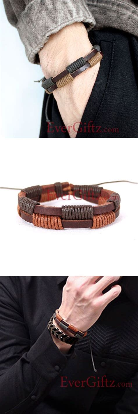 genuine leather bracelets layered knit weaved vintage gift