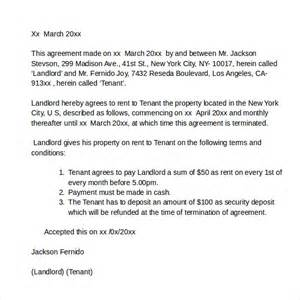 Lease Agreement Letter Template by Rental Agreement Letters Sles Exles Formats 7 Free Documents In Pdf Word
