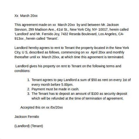 Sle Letter Of Agreement To Pay Rent Rental Agreement Letters Sles Exles Formats 7 Free Documents In Pdf Word