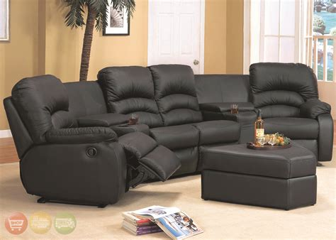 Leather Reclining Sectional Sofas Ventura Black Leather Sectional Sofa Reclining Theater Seating