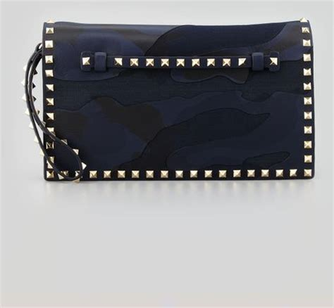 blue pattern clutch bag valentino rockstud camouflage clutch bag blue in blue