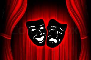 Red theater stage with mask stock photo colourbox