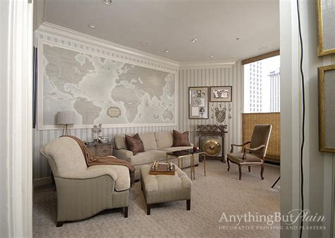 painted world map traditional living room