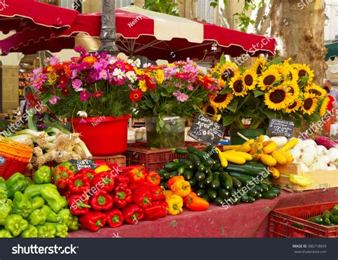 flower foods stock provence market local food flowers stock photo 386718859
