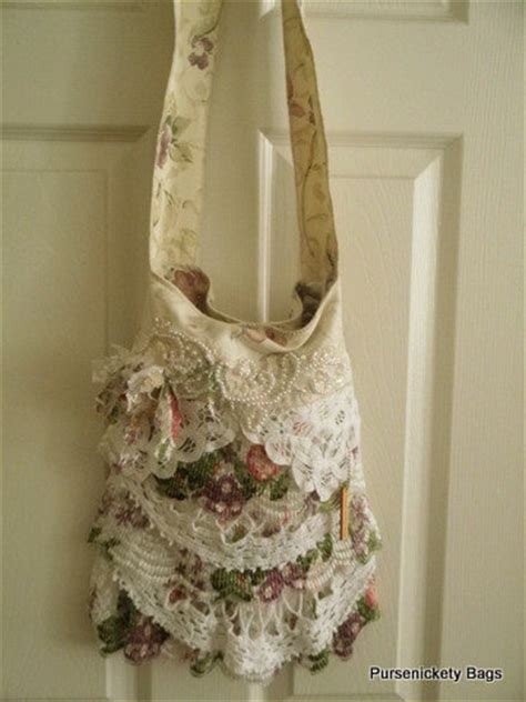 gypsy bag large shabby chic bag soft thick cream floral