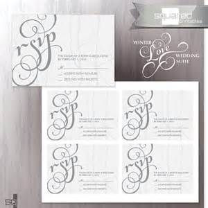 winter wedding invitation rsvp cards bridal wedding invite winter grey bridal