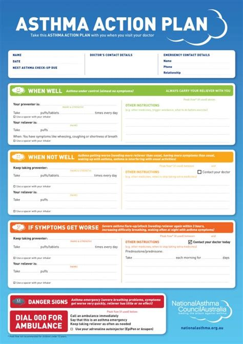 asthma plan template asthma plan library national asthma council australia