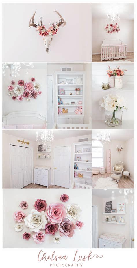 rose themed baby room floral baby girl nursery shiplap bookshelf paper flowers