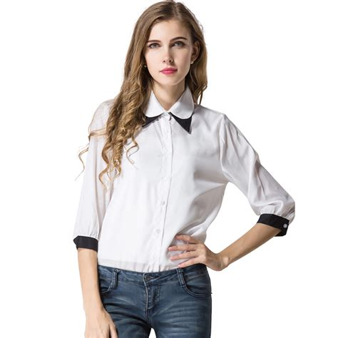 design dress collars fashion color patchwork collar women chiffon shirt 2016