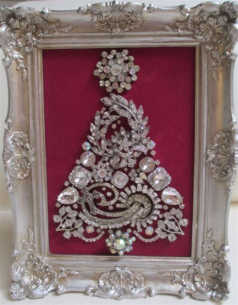 jeweled framed jewelry christmas tree silver fuchsia gorgeous