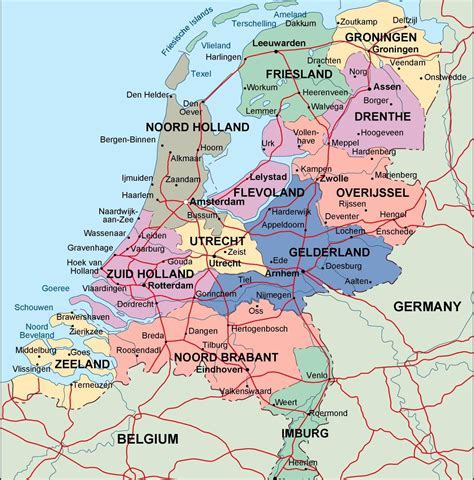 netherlands map of country netherlands political map illustrator vector eps maps