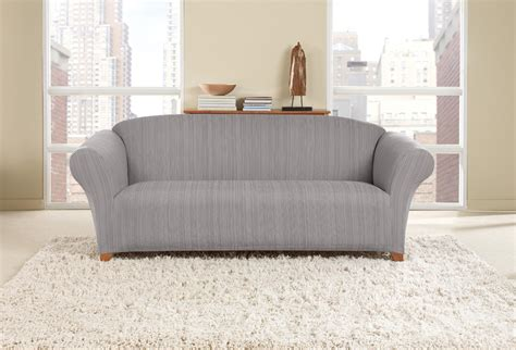 cover sofa with sheets sure fit stretch striated twill sofa slipcover dove gray