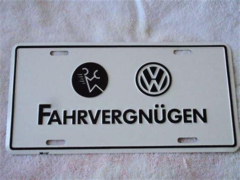 fahrvergnugen license plate vw volkswagen nos antique