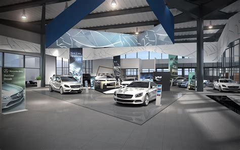 mercedes showroom interior 3d lab visualizations interior