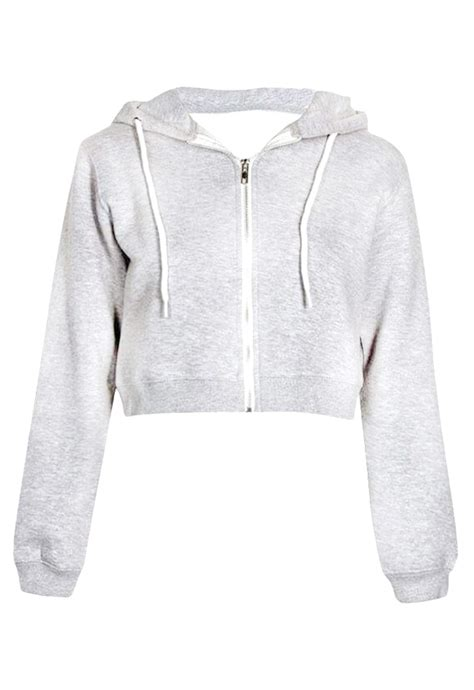 Limited Edition Crop Hoodie Zipper Polos Size S M Wanita Hots Prod crop zip up hoodie in marl grey missrebel
