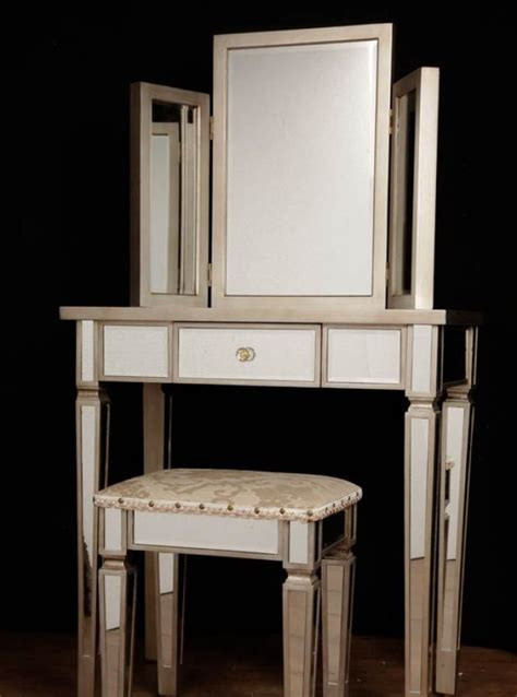 mirrored table l set deco mirrored dressing table stool set bedroom