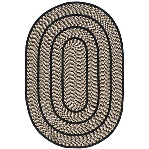 safavieh braided ivory black 4 ft x 6 ft oval area rug