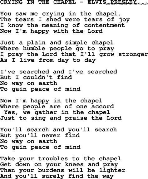printable elvis lyrics elvis presley song crying in the chapel lyrics search