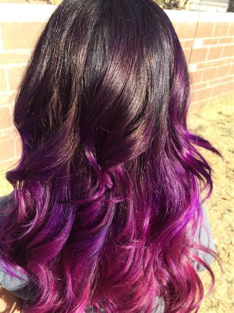 pink and purple ombre purple pink ombre wavy curly beachwaves hair