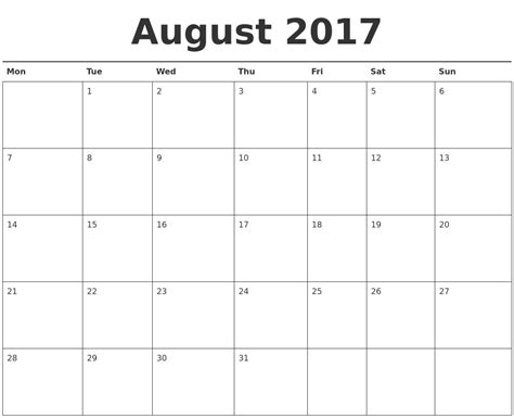 printable monthly calendar starting monday august 2017 calendar printable