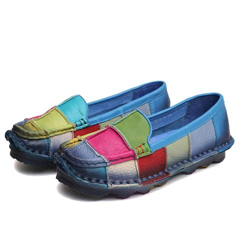 rainbow loafers rainbow color match soft leather flat loafers for