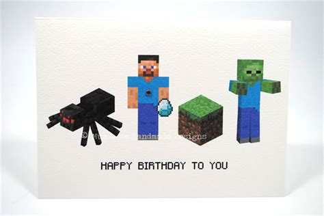 happy birthday card boy or girl minecraft hbc144 mum and me handmade designs