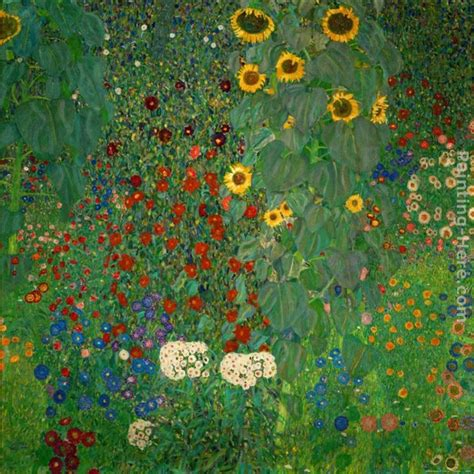 Gustav Klimt Farm Garden With Sunflowers Painting Anysize Gustav Klimt Flower Garden
