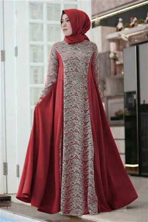 Baju Batik Pesta Modern Gamis Muslim Modern 2 baju gamis pesta brokat modern model terbaru camela marun