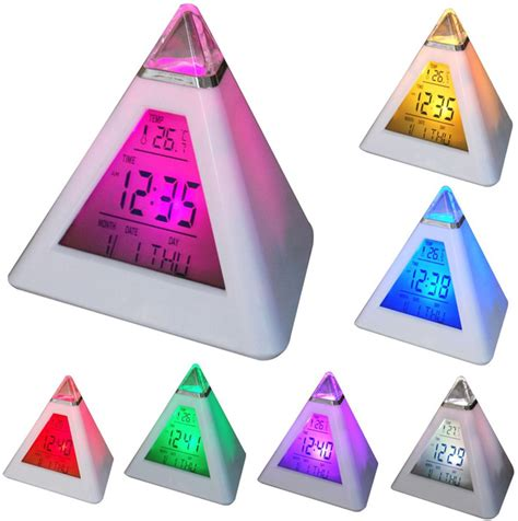 Color Changing Pyramid Clock Jam Meja Digital color changing pyramid clock jk 8082 white
