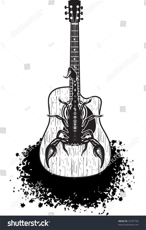 acoustic guitar scorpion on it black stock vector 32787796