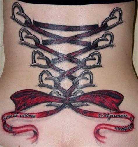 get laced corset lacing ribbon and bow tattoos tatring