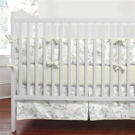 Nursery Rhyme Toile Sage Baby Crib Bedding Nursery Rhyme Crib Bedding