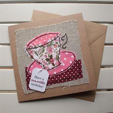 Sewn Cards Handmade - birthday card handmade sewn pink floral teacup